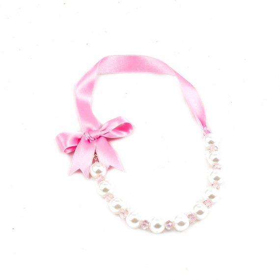 Lazo rosa y perlas pequeño